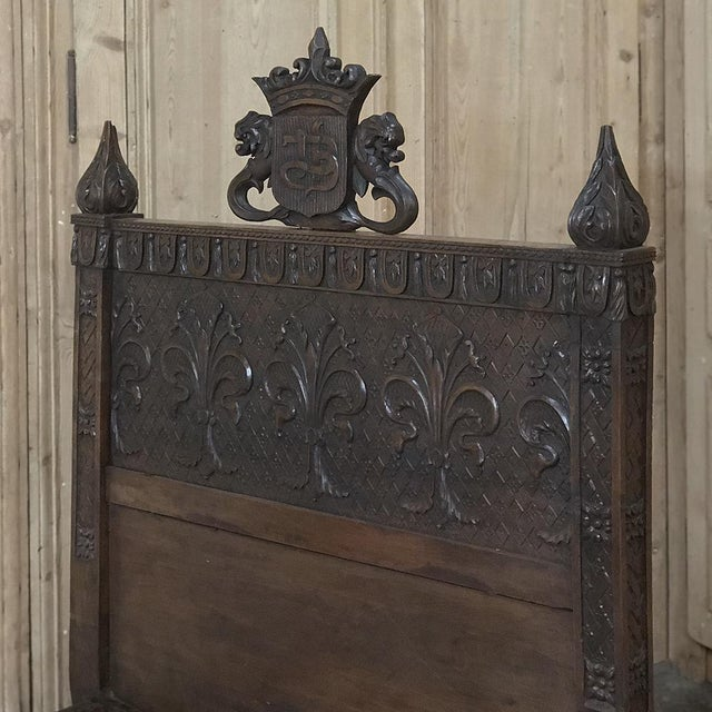 Sculpting 19th Century Italian Florentine Hand-Carved Walnut Bed For Sale - Image 7 of 13