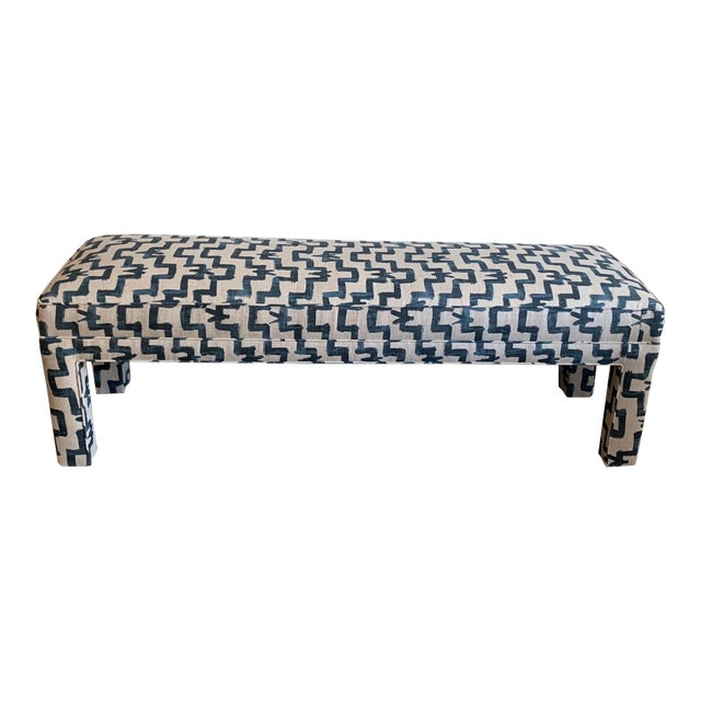 1970s Vintage Parsons Style Upholstered Bench For Sale