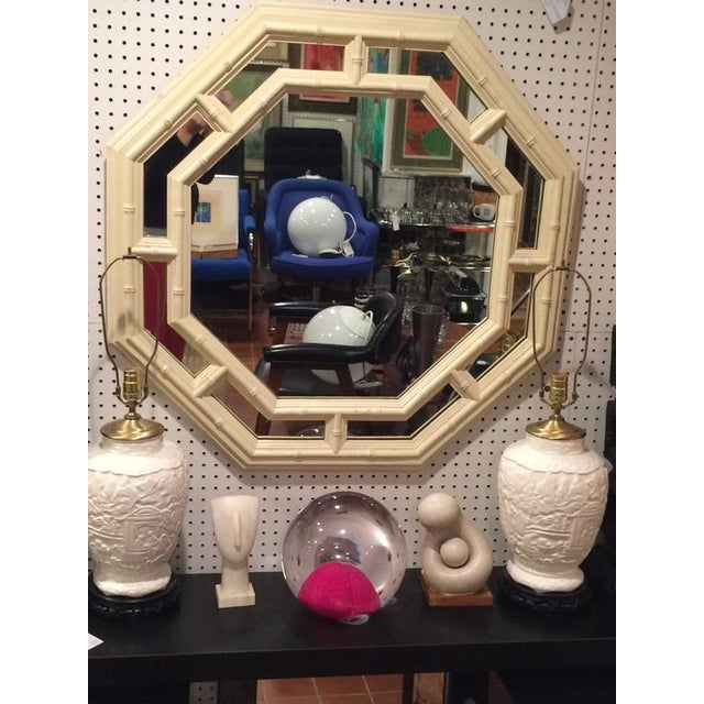 Asian Faux Bamboo Hollywood Regency Octagonal Mirror For Sale - Image 3 of 11