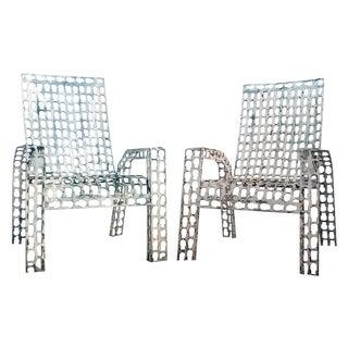 Folk Art Pressed & Welded Steel Chairs - A Pair