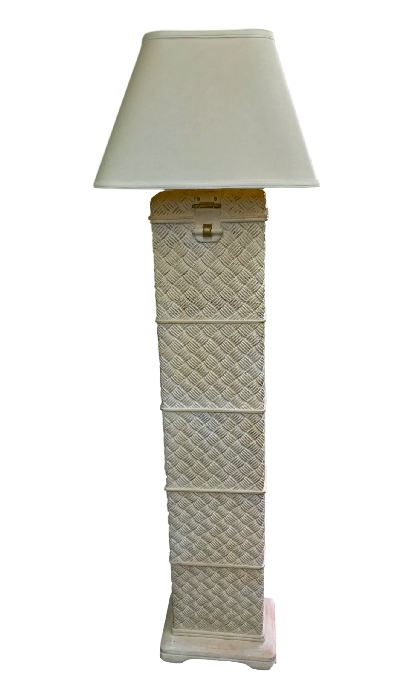 Vintage pottery basketweave style contemporary asian floor lamp image 8 of 8
