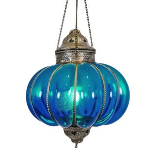 Vintage Turquoise Pumpkin Lantern For Sale