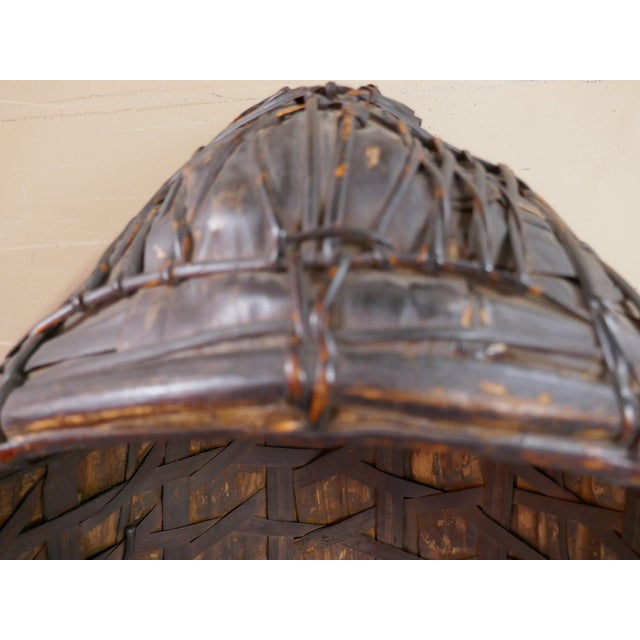Mid 20th Century Antique Philippine Rice Basket & Rain Hood For Sale - Image 5 of 9