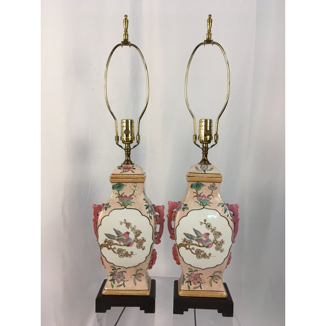 Pink With Floral Motif Chinoiserie Vintage Lamps - a Pair For Sale - Image 9 of 9