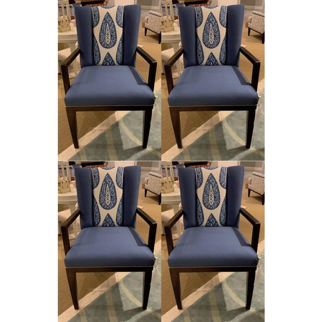 Blue Henredon Paley Arm Chair - Set of 4 For Sale - Image 8 of 8