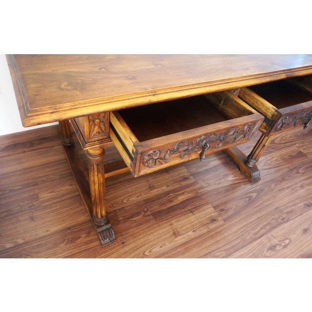19th Spanish Refectory Table with Two Drawers, Desk Table - Image 6 of 9