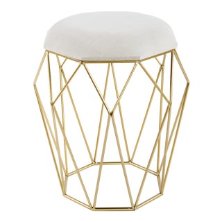 Golden Metal and Linen Sybelle Stool