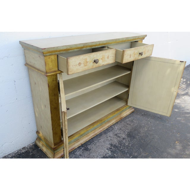French Shabby Shic Painted Distressed Tall Sideboard Buffet Narrow Console 2154 For Sale - Image 12 of 13