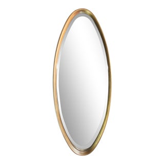 LaBarge Mid-Century Modern Giltwood Oval Mirror For Sale