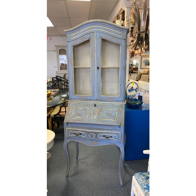 Vintage French Country Gustavian Blue Drop Front Secretary For Sale - Image 13 of 13