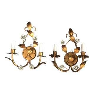 Gilded Tole Italian Wall Sconces With Porcelain Flowers -A Pair For Sale