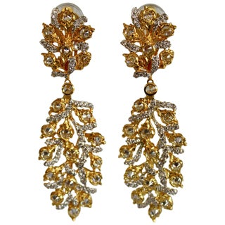 Vermeil and Cz Drop Clip Statement Earrings For Sale