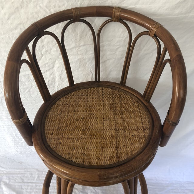 Brown Mid-Century Bamboo Swivel Barstools - a Pair For Sale - Image 8 of 9