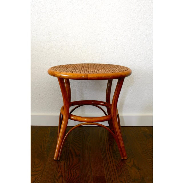 Brown Vintage Rattan and Cane Tables - a Pair For Sale - Image 8 of 10