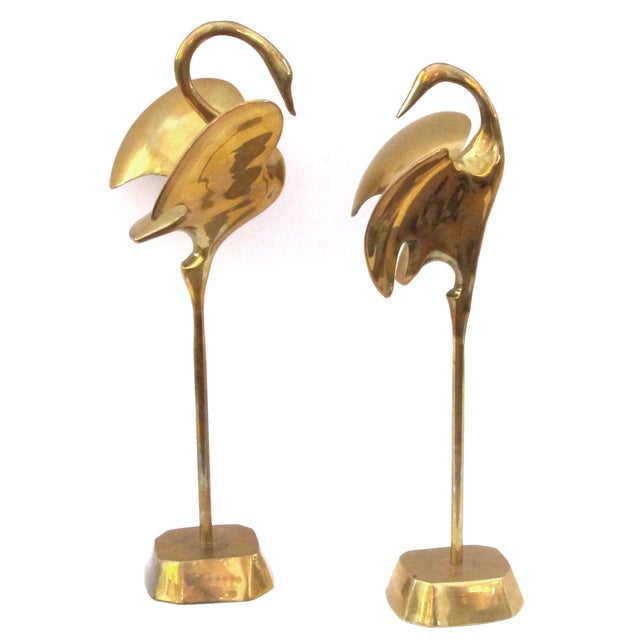 Metal A Graceful Pair of Stylized Solid Brass Cranes For Sale - Image 7 of 7