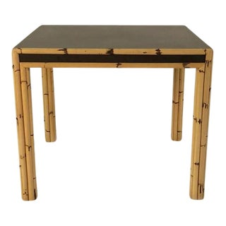 Bamboo Game Table With Mica Top, C. 1970 For Sale