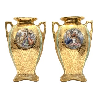 1940s Le Mieux Hand Painted French Scene Porcelain Urns with 24k Gold - a Pair For Sale