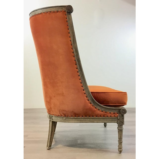 2010s French Style Modern Orange Velvet High Back Lounge Chair For Sale - Image 5 of 8