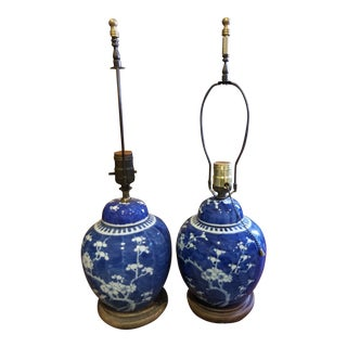 Blue and White Chinese Ginger Jar Lamps - a Pair For Sale