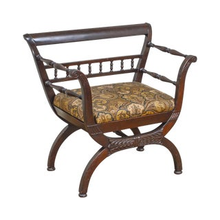 Vintage Carved Mahogany Wide Seat Curule Arm Chair For Sale