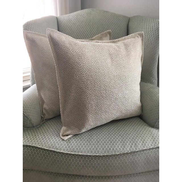 Light Green Cut Velvet Pillows - A Pair For Sale In Houston - Image 6 of 7