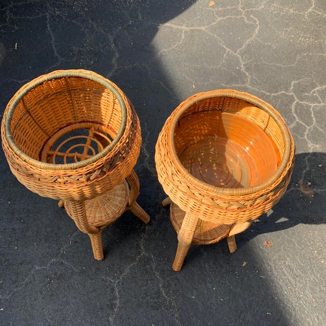 1970s 1970s Rattan Plant Stands - a Pair For Sale - Image 5 of 6