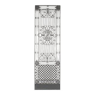 8 American Victorian style (19/20th Cent) iron gates with filigree scroll design and lattice base