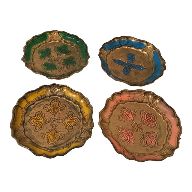 Vintage Italian Florentine Coasters - Set of 4 For Sale