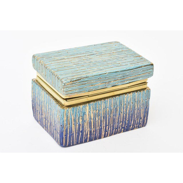 Brass Italian Mid-Century Modern Bitossi Glazed Ceramic, Gold and Brass Hinged Box For Sale - Image 7 of 11
