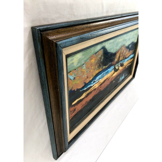 1960s 1960s Oil on Canvas Ships on Shoreline Signed Carrie For Sale - Image 5 of 7