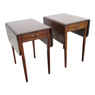 Drop Leaf Inlay Pair of Nightstands Side End Tables by Brandt Furniture For Sale