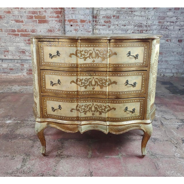 Italian Beautiful Italian Florentine Gilt Chest of Drawers Commode For Sale - Image 3 of 10