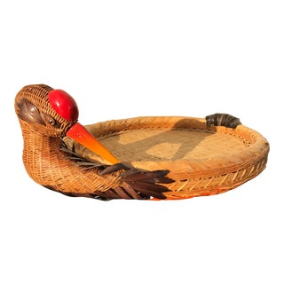 1960s Vintage Natural Fiber Woven Crane Tray For Sale