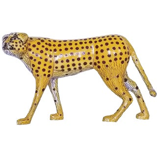 Vintage Cloisonne Enamel and Brass Cheetah Sculpture - Chinese Chinoiserie Mid Century Modern MCM Palm Beach Boho Chic Figurine Animal For Sale