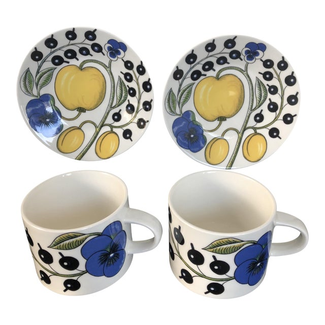 Arabia Finland Paratiisi Set of Two Cups Saucers - 4 Pc. - Image 1 of 9