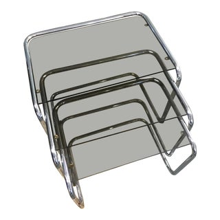 Set of 3 Smoked Glass and Silver Nesting Tables For Sale