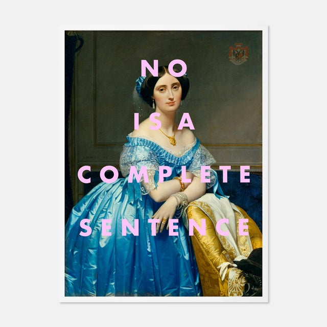 Contemporary No is a Complete Sentence by Lara Fowler in White Framed Paper, Small Art Print For Sale - Image 3 of 3