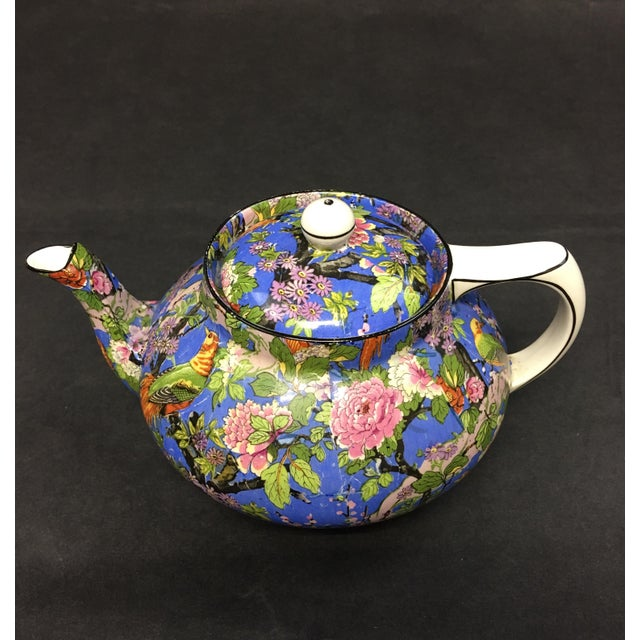 Blue Crown Ducal Ware Chintz Blue Teapot 1920 For Sale - Image 8 of 8
