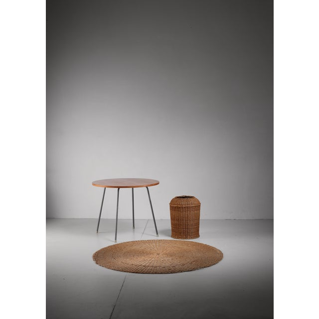 Egon Eiermann Table with Wicker Basket and Floor Mat, Germany, circa 1950 - Image 3 of 3