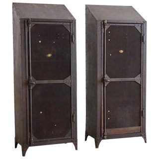 Pair of Industrial Patinated Iron Locker Cabinets For Sale