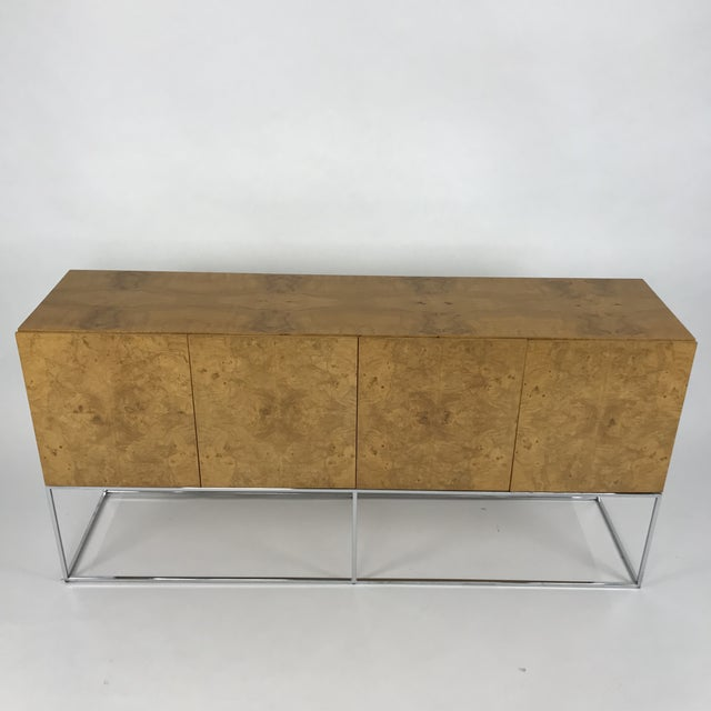 Chrome Olive Burl Credenza With Chrome Base Designed by Milo Baughman for Thayer Coggin For Sale - Image 7 of 13
