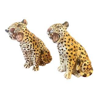 Hollywood Regency Italian Terra Cotta Leopard Pups -- a Pair For Sale