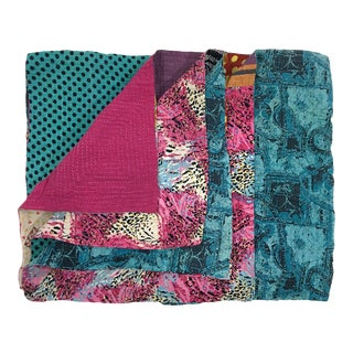 Rug & Relic Turquoise and Fuchsia Kantha Quilt For Sale