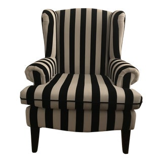Black & White Striped Wingback Chair For Sale
