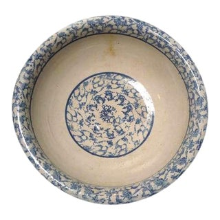 Large 19th Century Sponge Ware Serving Bowl For Sale