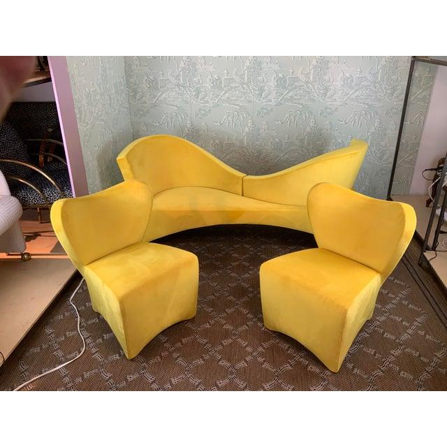 1970s 1970s Vintage Mid Century Modern Yellow Velvet Loveseat For Sale - Image 5 of 6