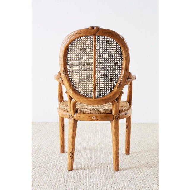 William Switzer Faux Bois Cane and Rush Seat Armchairs For Sale - Image 12 of 13