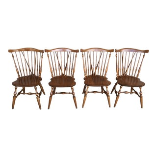 Ethan Allen Nutmeg Windsor Brace Back Side Chairs - Set of 4 For Sale