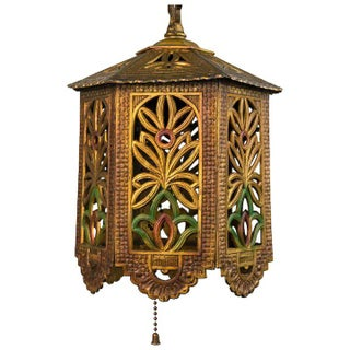 1930's American Polychrome Cast Metal Reticulated Lantern For Sale
