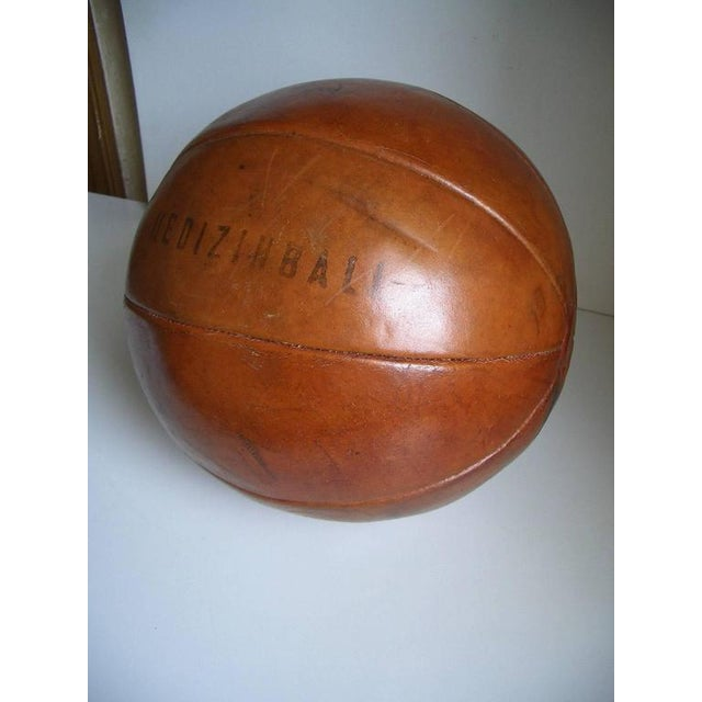 Vintage leather medicine ball by Platura For Sale - Image 6 of 11